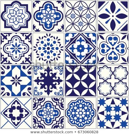 seamless tiles pattern mediterranean floral mosaic set lisbon seamless navy blue ornament stock photo © redkoala