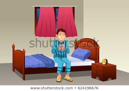 Bidden bed man bidden slaap pak Stockfoto © MaryValery