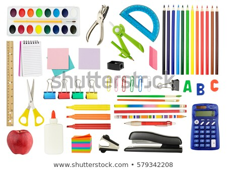 Different office supplies on white background Stock photo © bluering
