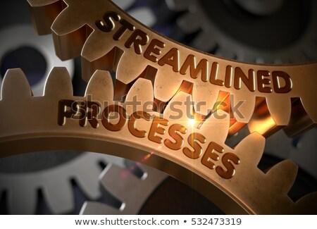 Business Processes on Golden Gears. 3D Illustration. Stock photo © tashatuvango