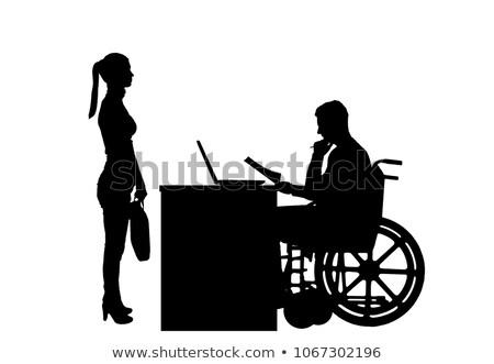 Zakenman rolstoel baas gehandicapten geneeskunde vector Stockfoto © MaryValery