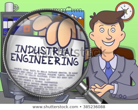 Industriali ingegneria lente di ingrandimento doodle design carta Foto d'archivio © tashatuvango