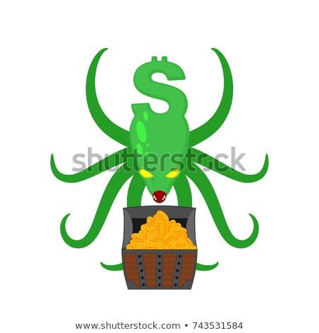 Canavar dolar göğüs para ahtapot vektör Stok fotoğraf © MaryValery