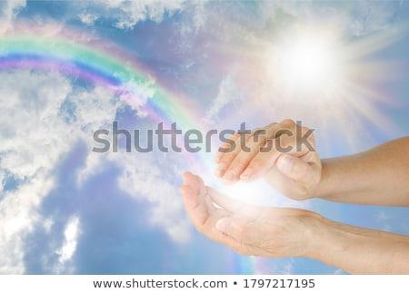 hand · hartvorm · wolk · blauwe · hemel · natuur - stockfoto © rufous