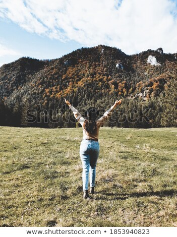 Függőleges hátulnézet kép barna hajú nő pózol Stock fotó © deandrobot