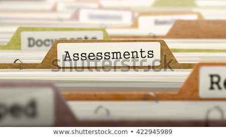 Foto stock: Folder In Catalog Marked As Assessments