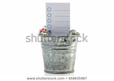 seau · liste · métal · annonce · papier · vierge · isolé - photo stock © compuinfoto