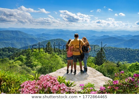 three people looking to mountain view Stock photo © IS2