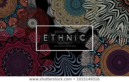 ouro · mandala · conjunto · preto · étnico · vintage - foto stock © sarts
