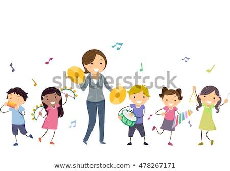 Stickman Kids Play Instruments Teacher Stock photo © lenm