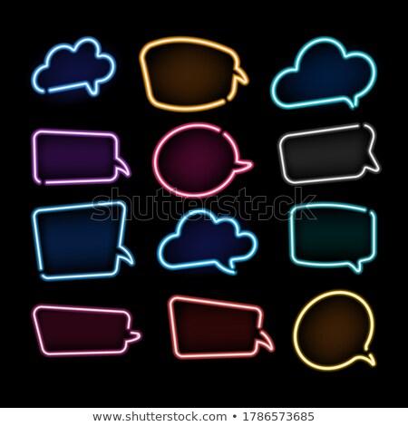 Karanlık modern kabarcık sohbet stil afişler metin Stok fotoğraf © SArts