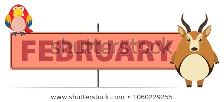 Sign template for February with gazelle Stock photo © bluering