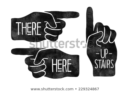 Navigation signs. Black hand silhouettes with pointing finger. Vector Illustration. Stock photo © FoxysGraphic