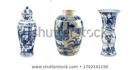 Velho vaso floral padrão dourado Foto stock © vrvalerian