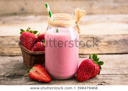 Stock fotó: Eper · smoothie · fa · gyümölcs · üveg · koktél
