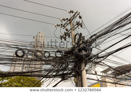 electric tower messy electrical wiring installation Stock photo © lunamarina