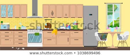 Dirty kitchen scene with cleaner Stock photo © bluering