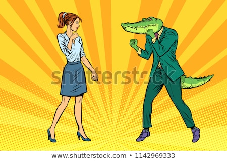 Woman businesswoman Boxing fights with crocodile reptiloid Stock photo © studiostoks