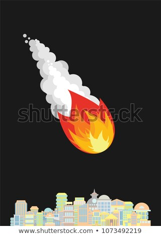 Meteorite and city. Fiery ball flies to town Stock photo © popaukropa