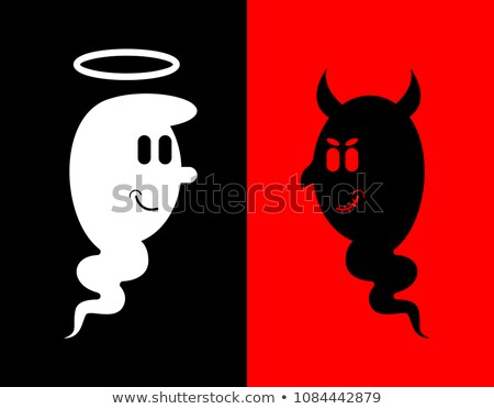 Heck and Angel. White and black ghost. Evil spook with horns and Stock photo © popaukropa