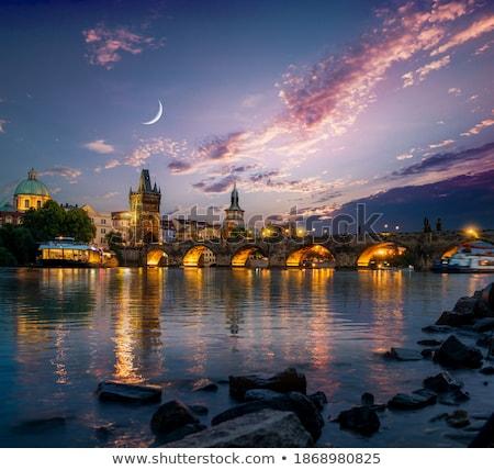 Moon over Charles Bridge Stock photo © Givaga