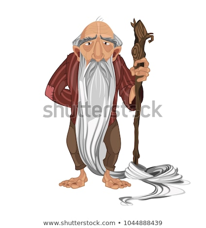 Old man shepherd Vector. cartoon character detailed illustration Stock photo © frimufilms