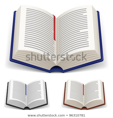Icon of open textbook with red bookmark. Stock photo © MarySan
