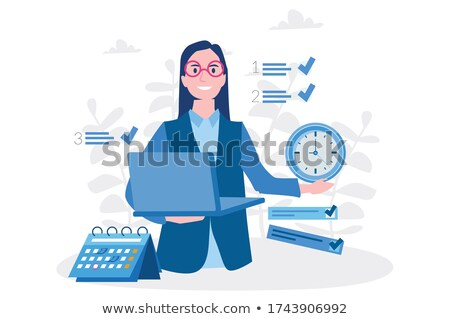 Computer with checklist, agenda or day plan - workplace icon Stock photo © gomixer