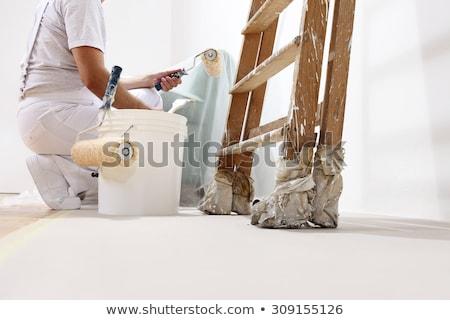 malarz · szczotki · strony · szczęśliwy · pracownika · cartoon - zdjęcia stock © studiostoks