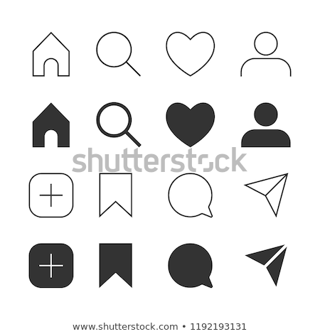 Stok fotoğraf: Interface Social Media Icons Buttons Comment Search Heart Like User Story Home
