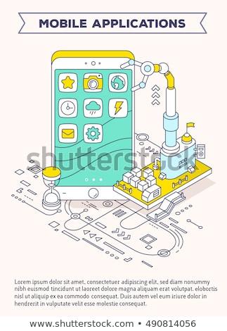 technikus · telefon · tájkép · szemüveg · ír · dolgozik - stock fotó © andreypopov