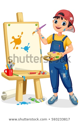 Little Girl Drawing On The Easel With Colored Paints Vector. Artist. Isolated Illustration Stock photo © pikepicture