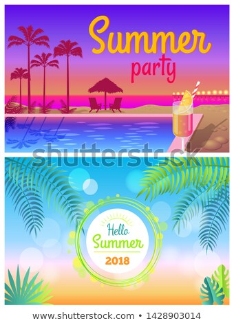 Hello Summer Party 2018 Posters Summertime at Pool Stock photo © robuart