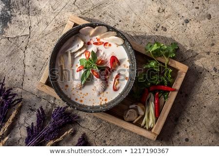 Tálak thai leves fa asztal zöld tyúk Stock fotó © Alex9500
