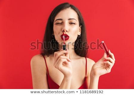 mulher · posando · isolado · gloss · make-up - foto stock © deandrobot