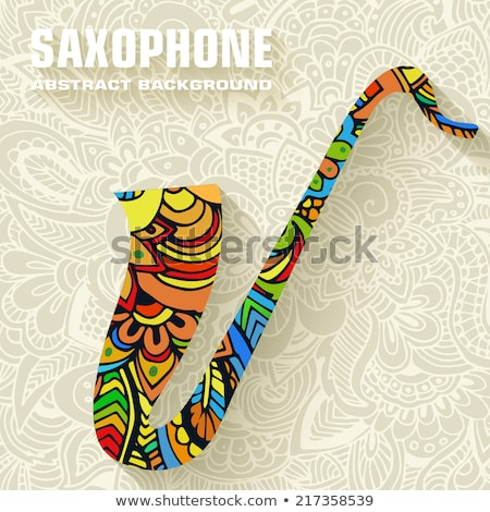 dessinés · à · la · main · art · musical · saxophone · ornement · illustration - photo stock © Linetale