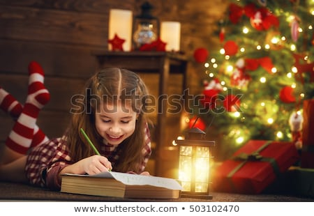Stock fotó: Lány · ír · levél · mikulás · vidám · karácsony
