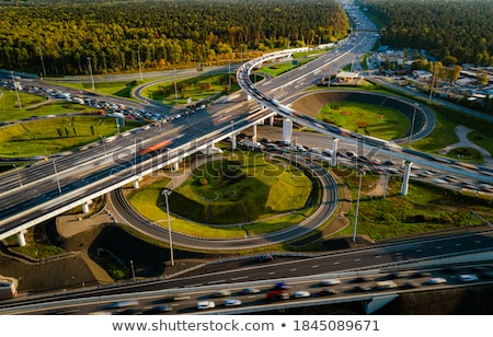 Aerial view of a freeway intersection traffic trails in Moscow. Stock photo © cookelma