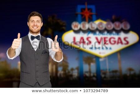 Feliz homem Las Vegas assinar Foto stock © dolgachov
