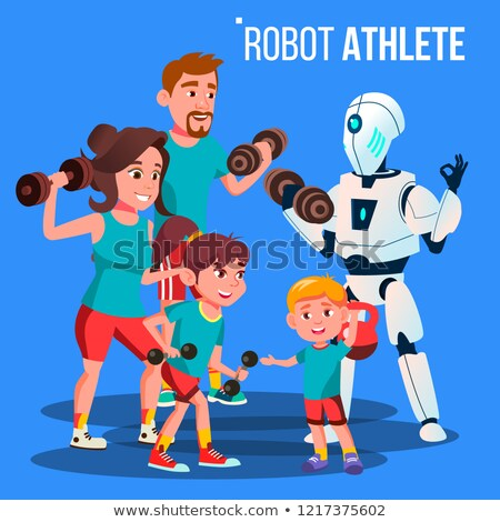 Robot Athlete Personal Fitness Trainer With Dumbbells Vector. Isolated Illustration Stock photo © pikepicture