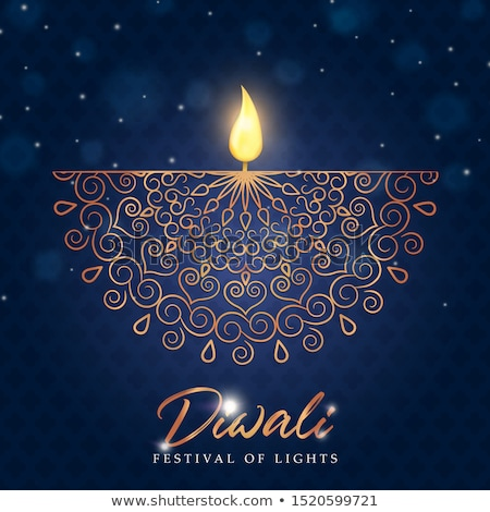 beautiful happy diwali greeting with golden diya Stock photo © SArts