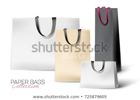 Realistyczny czarny papieru torbę na zakupy odizolowany biały Zdjęcia stock © olehsvetiukha