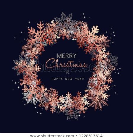 Vidám karácsony réz hópehely üdvözlőlap terv Stock fotó © cienpies