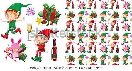 Karácsony manó sok ajándékok illusztráció buli Stock fotó © colematt