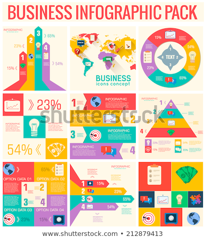 collection of 9 business flat infographic elements set for design in vintage colors vector illustr stock photo © linetale