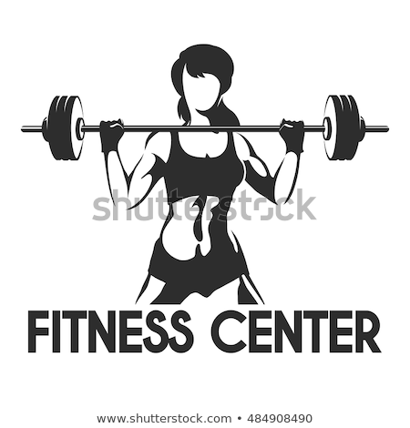 Stock fotó: Tornaterem · nő · sziluett · súlyzó · súlyok · fitnessz
