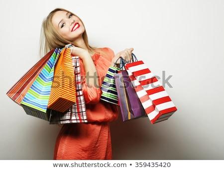 woman shopping on sale. Isolate on white background Stock photo © studiostoks