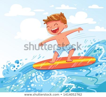 cartoon smiling surfer boy stock photo © cthoman