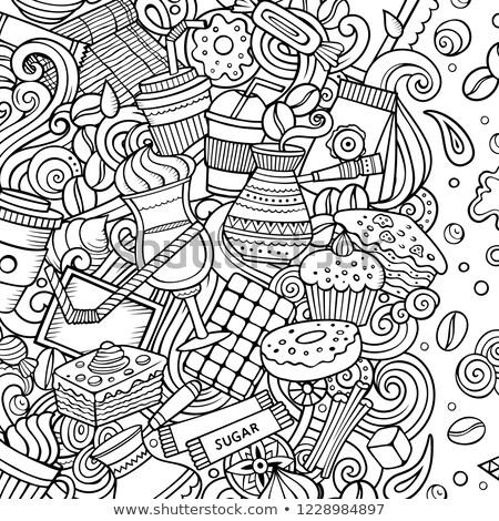 cartoon · cafe · coffeeshop · illustratie · lijn - stockfoto © balabolka