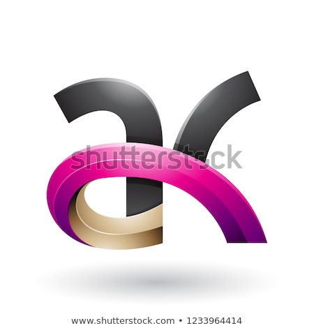 Black and Magenta 3d Bold Curvy Letter A and K Vector Illustrati Stock photo © cidepix